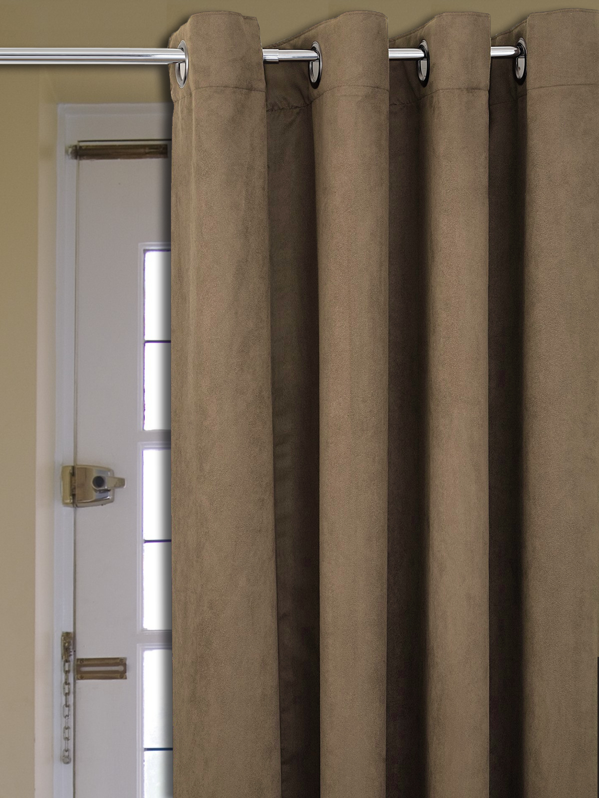 1600 #30261E  FAUX SUEDE RING TOP EYELET DOOR CURTAIN PLAIN DYE FULLY LINED EBay image Ebay Entry Doors 41531200
