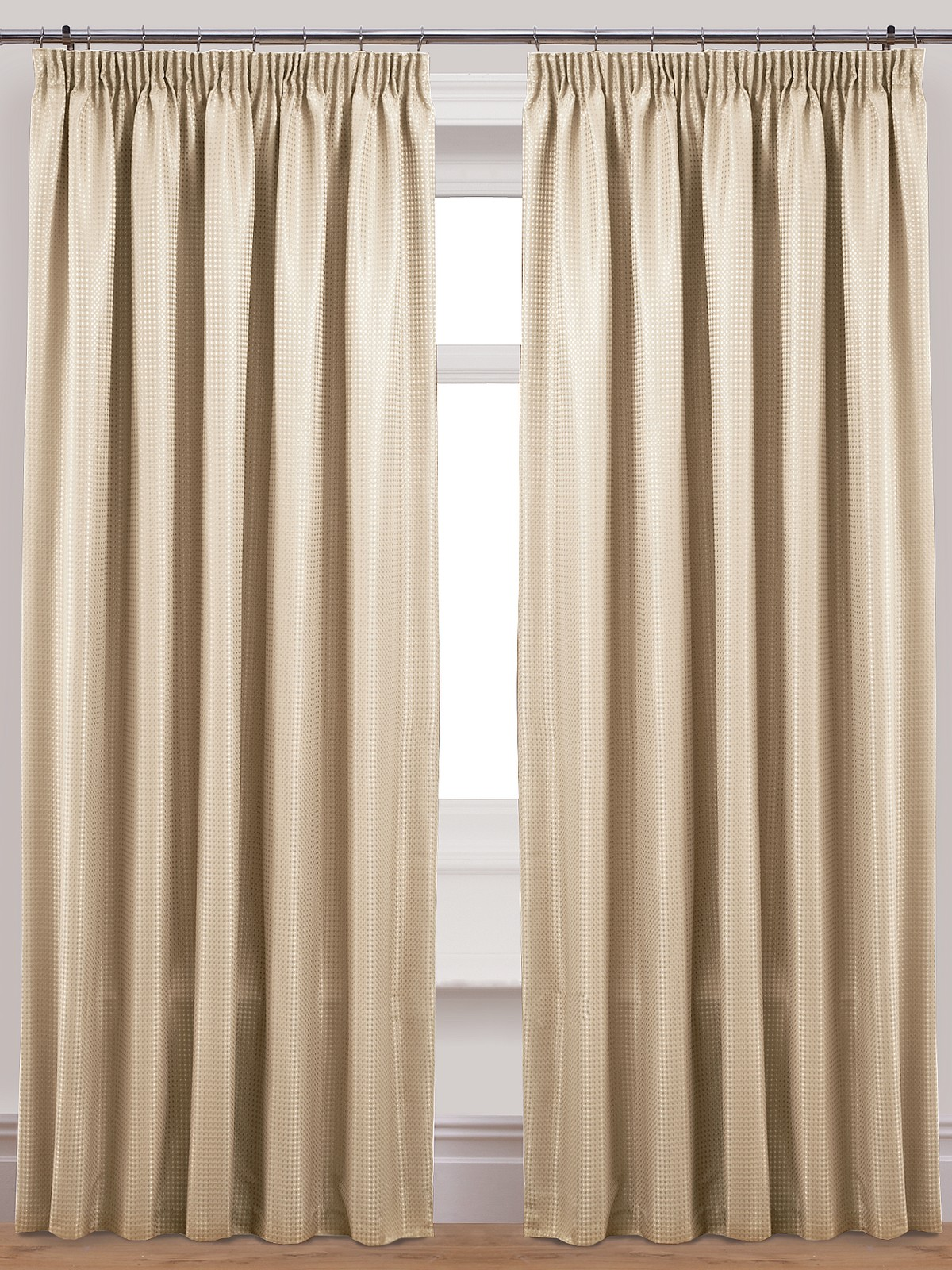Pair Waffle Lined Curtains 3 Tape Top Pencil Pleat Plain Dye Multiple Colours